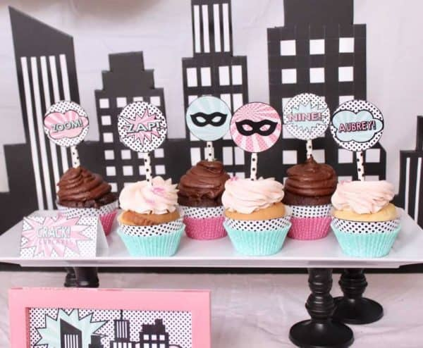 Superhero Party: Aubrey's Girly Superhero Birthday Party. Do you have a girl who LOVES superheroes? Celebrate her birthday superhero style. Today I'm sharing my daughter's 9th girly superhero birthday party!! Looking for Superhero Party dessert ideas? Be sure to also check out this Spiderman Party, super hero party, and theseideas for a superhero party.