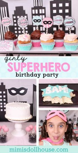 Superhero Party: Aubrey's Girly Superhero Birthday Party.  Do you have a girl who LOVES superheroes?  Celebrate her birthday superhero style.  Today I'm sharing my daughter's 9th girly superhero birthday party!! Looking for Superhero Party dessert ideas?  Be sure to also check out this Spiderman Party, super hero party, and these ideas for a superhero party.