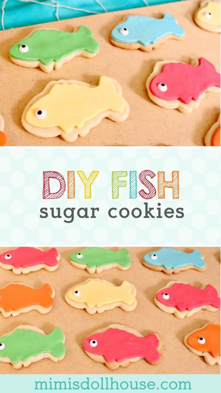 Fishing Party: DIY Fish Cookies. Bust out the tackle boxes and wet your line, these fish sugar cookies are sure to get you telling fish stories. #parties #diy #baking #fishingparty #birthdays #kidbirthdays