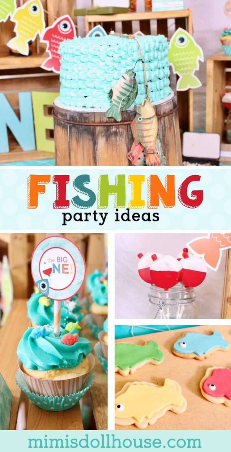 Fishing Party: Rowdy is Reeling in the Big ONE.  Looking for the perfect first birthday theme for your little man?  Check out this fishing themed first birthday party for inspiration. This fishing party is full of fish food, fish decorations and ideas for fish parties #parties #kidbirthday #birthdays #diyandcrafts #diy #crafts #partyprintables #desserts