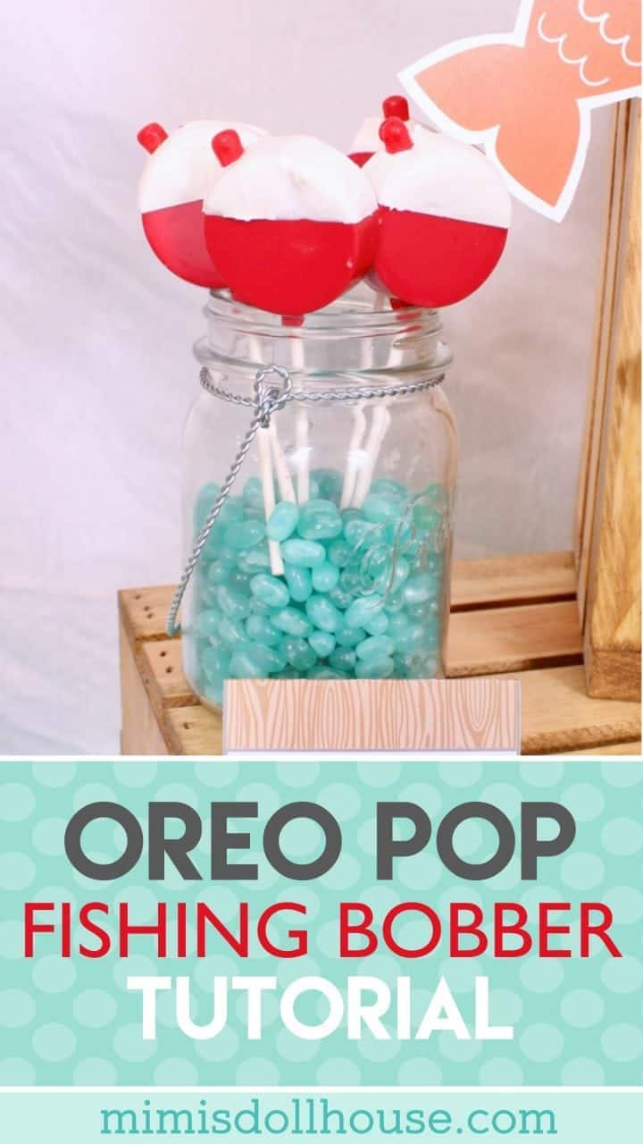 Fishing Party: DIY Bobber Oreo Pops. Want to add a little extra awesome to your fishing party? Make some DIY Bobber Oreo Pops. #parties #diy #baking #oreos #desserts #fishingparty #fish