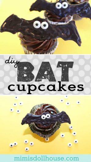 Halloween: DIY Bat Cupcakes & Bat Cookies. Celebrate Halloween with some super easy bat cupcakes and bat cookies. #baking #halloween #parties #food #holiday #cupcakes #cookies