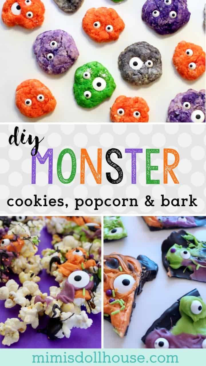 Halloween: DIY Monster Cookies, Monster Bark & Monster Popcorn. What better for Halloween than monster cookies, monster popcorn, and monster bark?? These tutorials are so super easy and yummy...you'll want to make them again and again! #parties #baking #halloween #holiday #monster #monsterparty #kidparties #birthdays