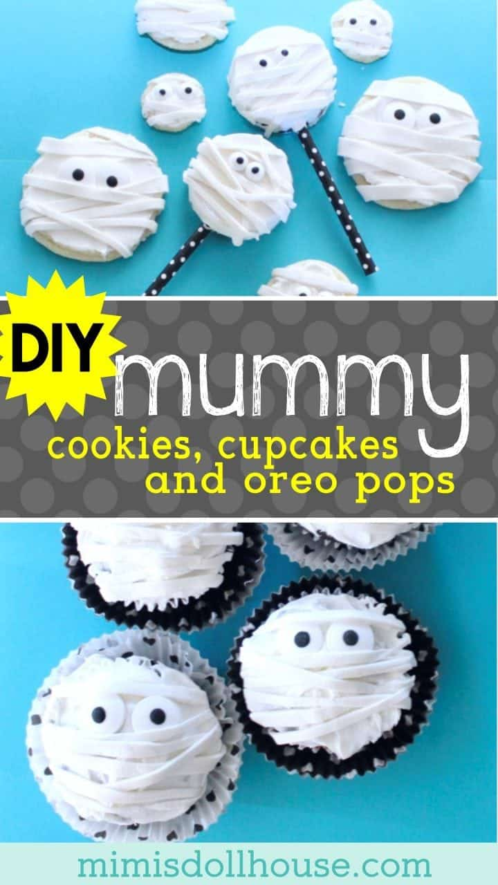 Halloween: Mummy Cupcakes, Cookies & Oreo Pops, OH MY! Get all wrapped up in some sugary Halloween fun with these Mummy Cookies, Mummy Cupcakes & Mummy Oreo Pops! #parties #halloween #baking #mummy #desserts #holiday #cupcakes