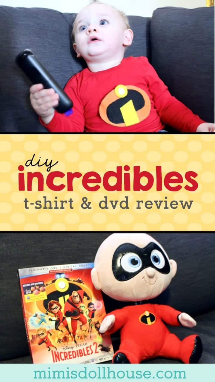 Incredibles 2: Incredibles Shirt Tutorial & Blu-Ray Review.  Throwing an Incredibles 2 viewing Party or just want to celebrate your little incredible fan?  This easy DIY Incredibles shirt tutorial is is the perfect compliment to this adorable Incredibles 2 movie!!  #pixar #diy #incredibles #parties #craft #kidbirthday