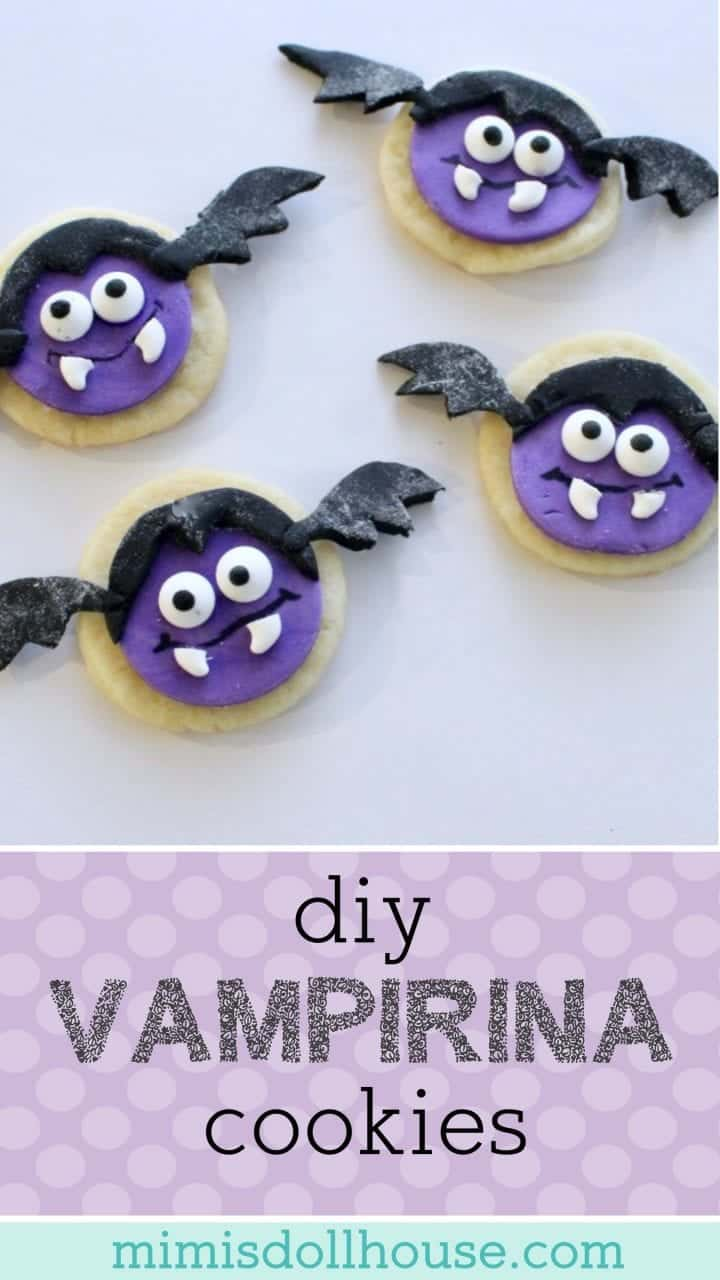 Disney Junior: Vampirina Cookies.  Throwing a Vampirina Party or just want to celebrate your little Ghoul  with some cute Vampirina cookies?  This easy DIY Vampirina cookies tutorial is for you. #parties #baking #disney #disneyjunior #vampirina #fondant #kidbirthday #birthday #desserts