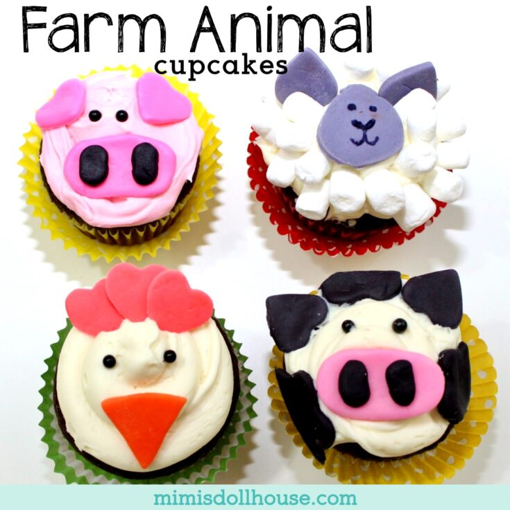 Simple Farm Animal Cupcakes